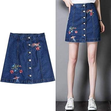 GYYWAN Bordado Jeans Falda Mujer Tallas Grandes A- Line Botón ...