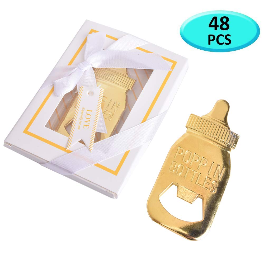 Baby Shower Return Gifts for Guest Supplies Baby Bottle Shaped Bottle Opener with Exquisite packaging For Guests Party Souvenirs decorations (White 48PCS) by STAR LELEE