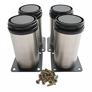 HEVERP (4-Pack) Furniture Cabinet Metal Legs Kitchen Adjustable Stainless Steel Feet Round (10CM)