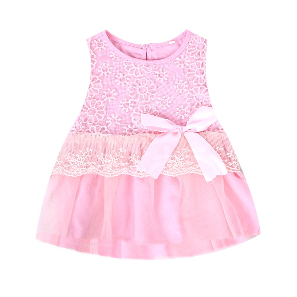 Cute Baby Girls Princess Party Tutu Lace Bowknot Flower Gown Dress Pink Fairy Season