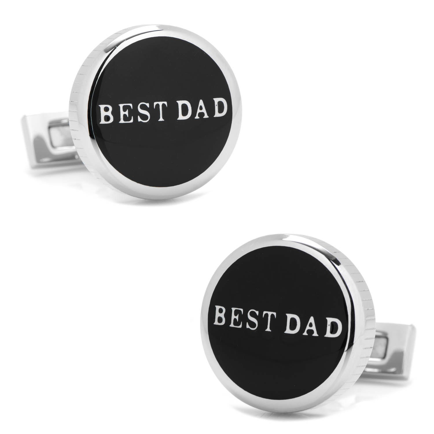 Ox and Bull Trading Co. Best Dad Black Stainless Steel Cufflinks OB-DADBK-STL