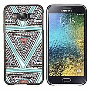 Stuss Case / Funda Carcasa protectora - Mano patrón dibujado Pluma Azul Triángulo - Samsung Galaxy E5 E500