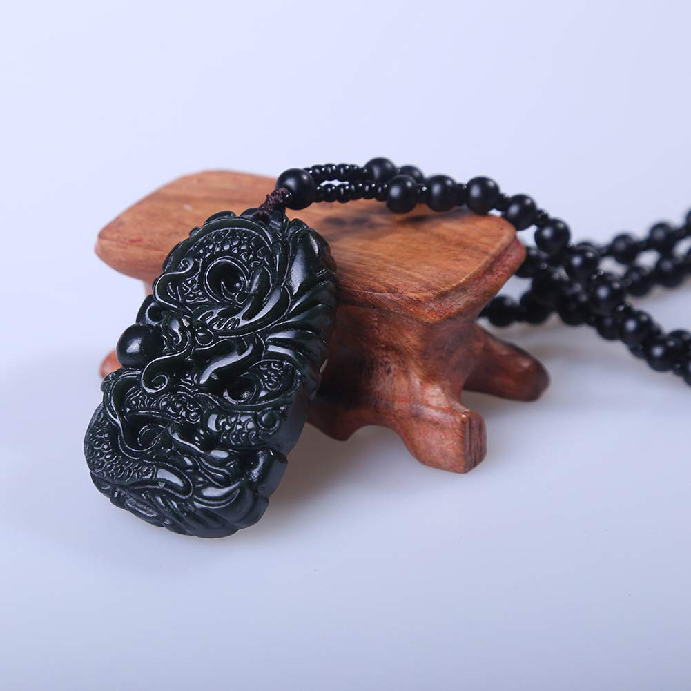 Nanamap Traditonal Vintage Handcrafting Obsidian Stone Ancient Flying Dragon with Forturne Stone Pendant//Color Black//Lucky Necklaces//Forutrne Flying Dragon//Dinosaur Jade,