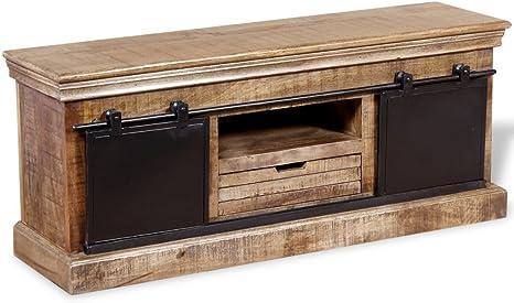 festnight Vintage TV unidad de armario con 2 puertas correderas ...