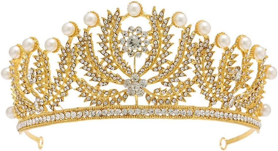 WH-IOE Crown Princess Tocado Casco Brillante, Ideal para Bodas, Concurso, Proms, Fiestas, Disfraces, Producciones teatrales Banda para la Cabeza del Casco de Peine del Pelo (Color : Gold)