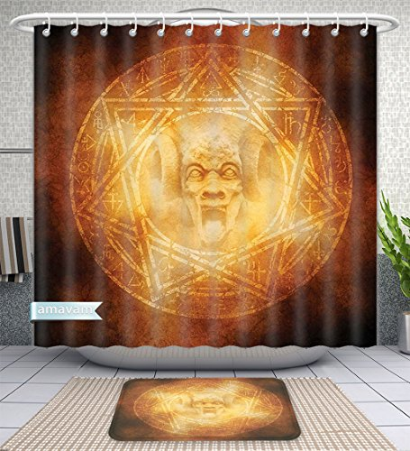 Unique Custom Bathroom 2-Piece Set Horror House Decor Demon Trap Symbol Logo Ceremony Creepy Ritual Fantasy Paranormal Design Orange Shower Curtains And Bath Mats Set, 66''Wx72''H & 23''Wx16''H by Amavam