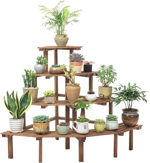 HUYYA Flores estantes Macetas Estanteria, Escalera de madera Planta Stand 4 Capa Plegable en esquina Escalera en forma de maceta Display Shelf Rack: Amazon.es: Jardín