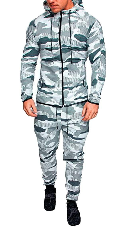 Mens Autumn Winter Camouflage Sweatshirt Top Pants Sports Suit Tracksuit