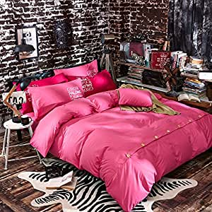 Luxury 4-Piece Bedding Set Rose red solid color buttons Duvet Covers Set Duvet Cover Bed Sheet Pillow Cases Queen Pattern
