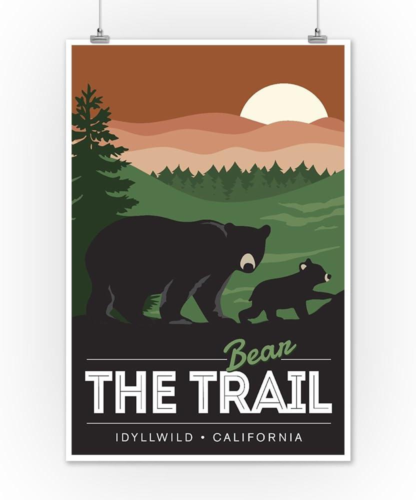 Bear the Trail Idyllwild 16x24 SIGNED Print Master Art Print - Wall Decor Poster California Vector Style 77706