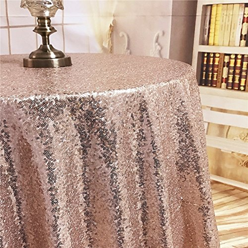 """TRLYC Champagne Rose Gold 70"""" Round Sequin Tablecloth for We"""
