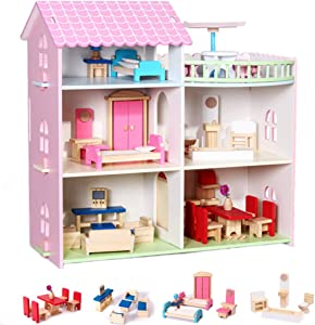 TOYROOM Wooden Dollhouse with Furniture Accessories 3 Storey 5 Rooms Balcony Large Villa Doll House Pretend Play Set Doll Playhouse Cottage Birthday Gift for Toddler Kids Girls Boys