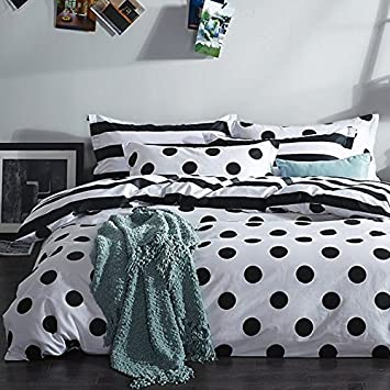 MZPRIDE Black And White Duvet Cover Set 100% Cotton Black And White Polka  Dot Bedding