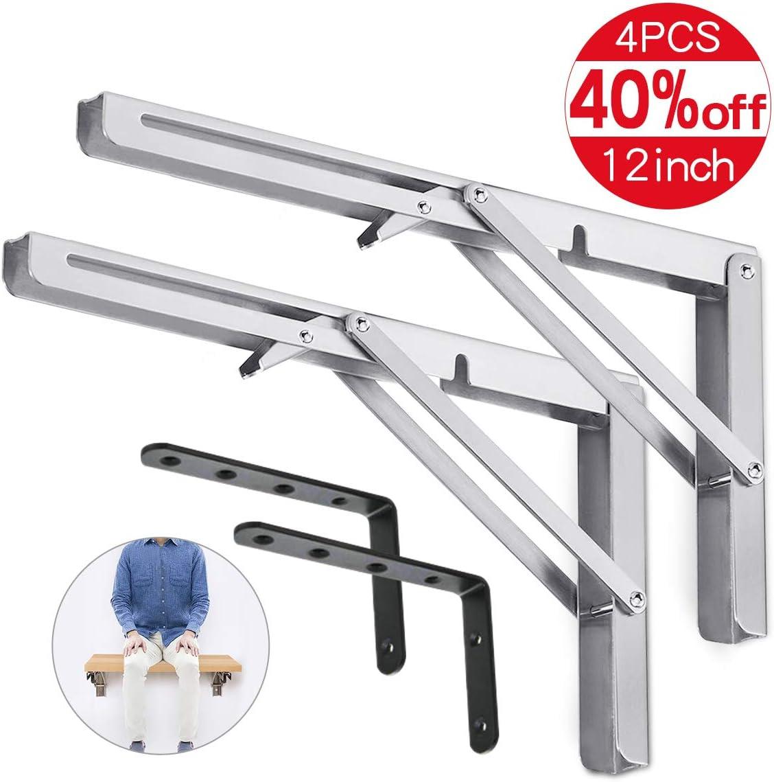 4pcs Wall Mounted Shelf Braces Heavy Duty Shelf Brackets For Table 12 inch