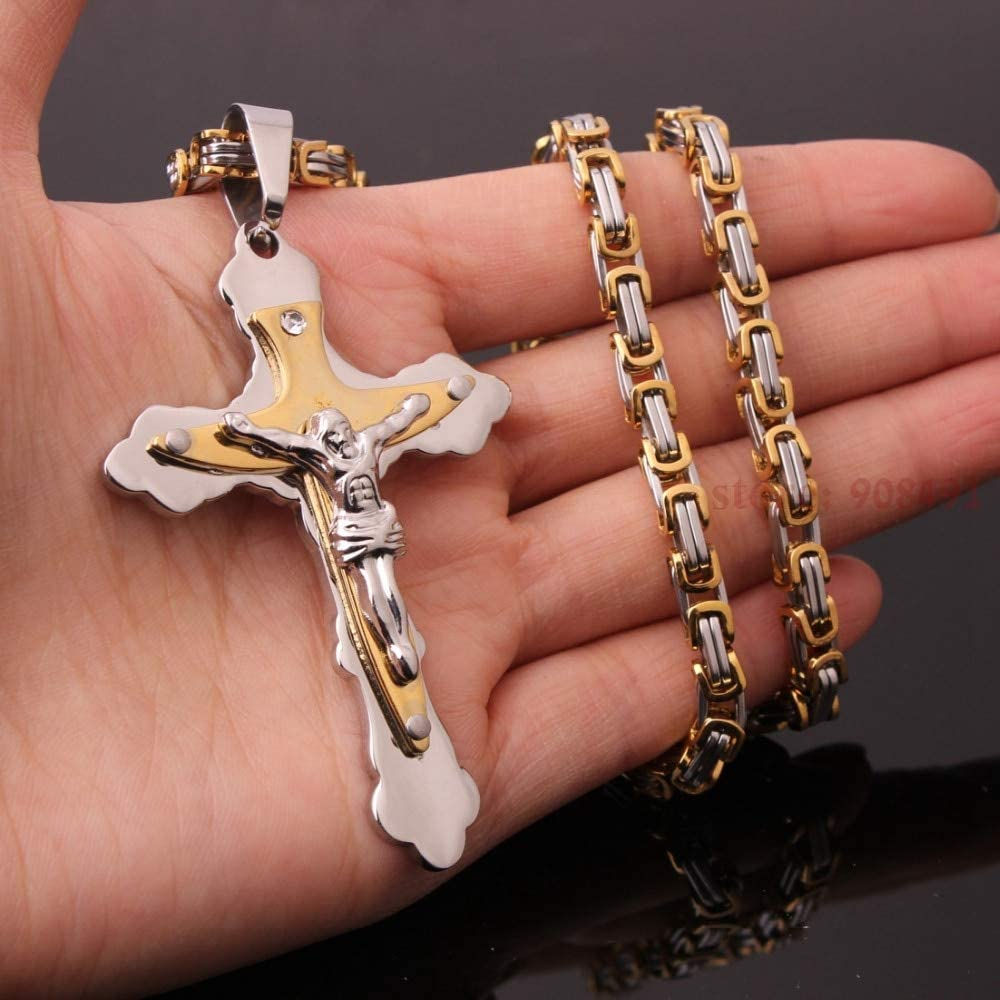 Metal Color: 28inches Necklace 18-40 Mens Religious Stainless Steel Jesus Christ Cross Pendant Necklace