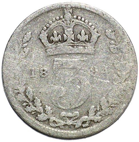 "1894 UK Queen Victoria British Silver ""Widow Head"" Threepence FAIR"
