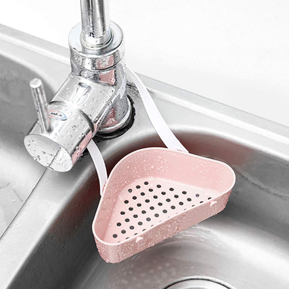 HHmei_Home Useful Sink Shelf Soap Sponge Drain Rack| Necessary for Bathroom Holder Kitchen Storage Tool Pink