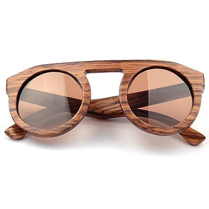 Uiophjkl Lentes Planos espejados Lindo Color marrón Mujer Gafas de Sol de Madera Redondo Hecho a