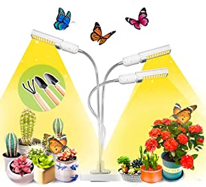 Grow Lights for Indoor Plants Full Spectrum Plants Lights LED Growing Lamp with Smart Timer for Succulents 3 E27 Clip On Auto On/Off 5 Brightness Levels Adjustable Gooseneck House Garden Hydroponics