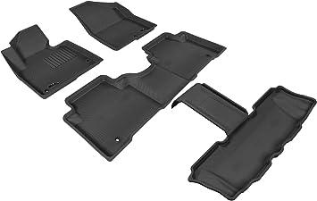 Kagu Rubber 3D MAXpider Complete Set Custom Fit All-Weather Floor Mat for Select Hyundai Santa Fe Models Black