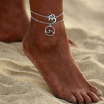 Jovono Boh/ême Plage chaine de cheville Pendentif Vague et 3D bracelets pied bijoux pour femmes et filles