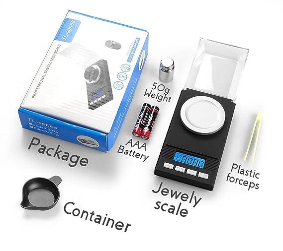... 0,001 g/0,00001 oz División, báscula de joyería portátil, peso digital con pinzas de calibración y sartenes de pesaje: Amazon.es: Hogar