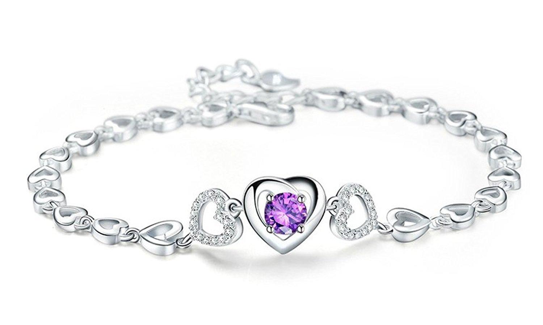 Forfamilyltd Womens Sterling Silver Feminine Purple Romantic Triple Hearts Interlocking Heart Bracelet, Adjustable