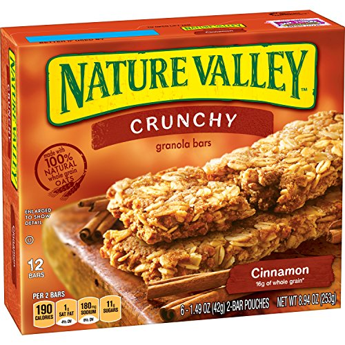 Nature Valley Granola Bars, Crunchy, Cinnamon, 6 Pouches - 1.5 oz, 2-Bars Per Pouch (Pack of 6)