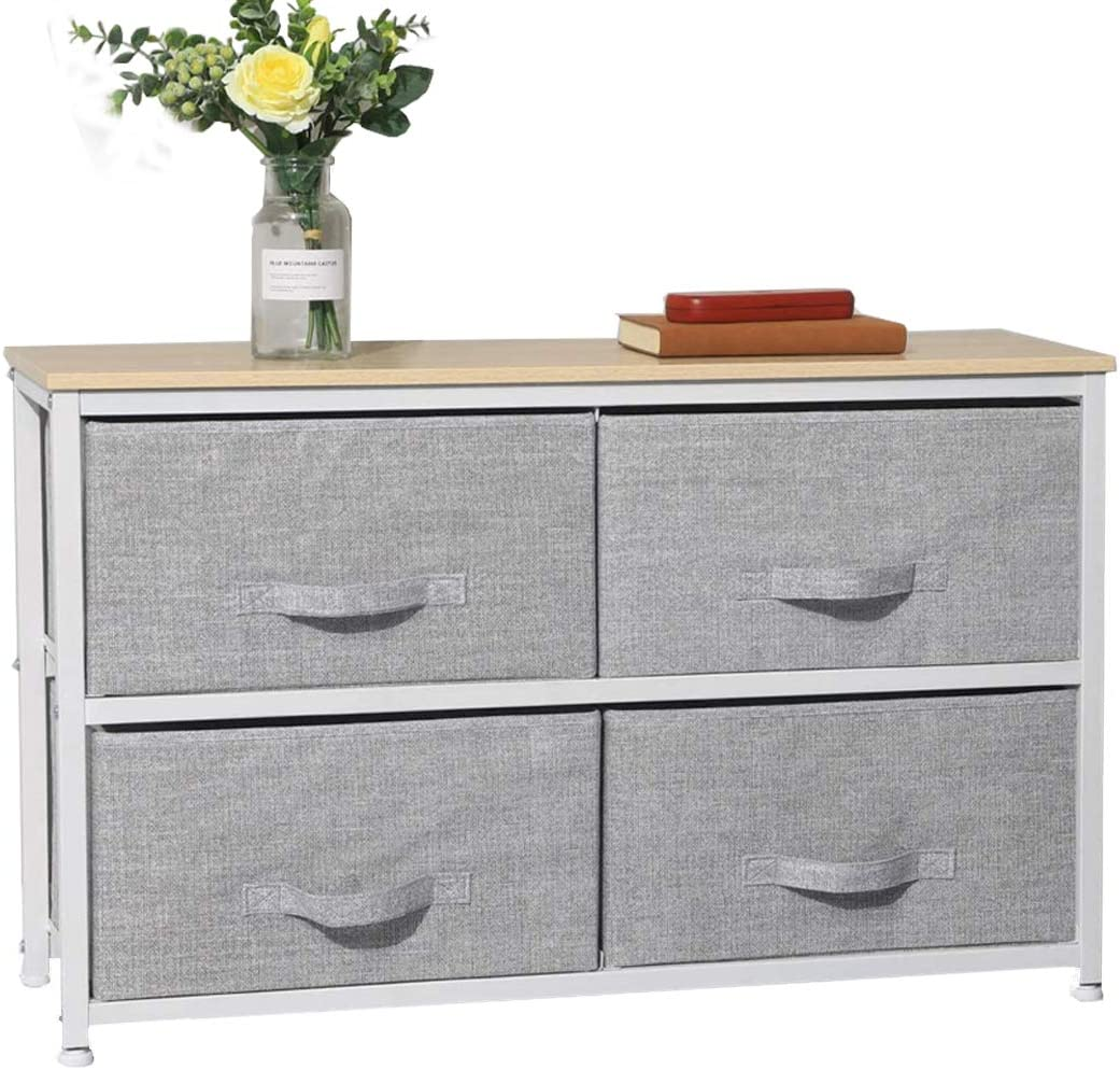 Aingoo Vertical Wide Dresser with 4 Fabric Drawers Storage Tower Organizer Unit, Nightstand with Sturdy Steel Frame and Wood Top for Bedroom Hallway Entryway Closets, Easy Pull Handle Grey