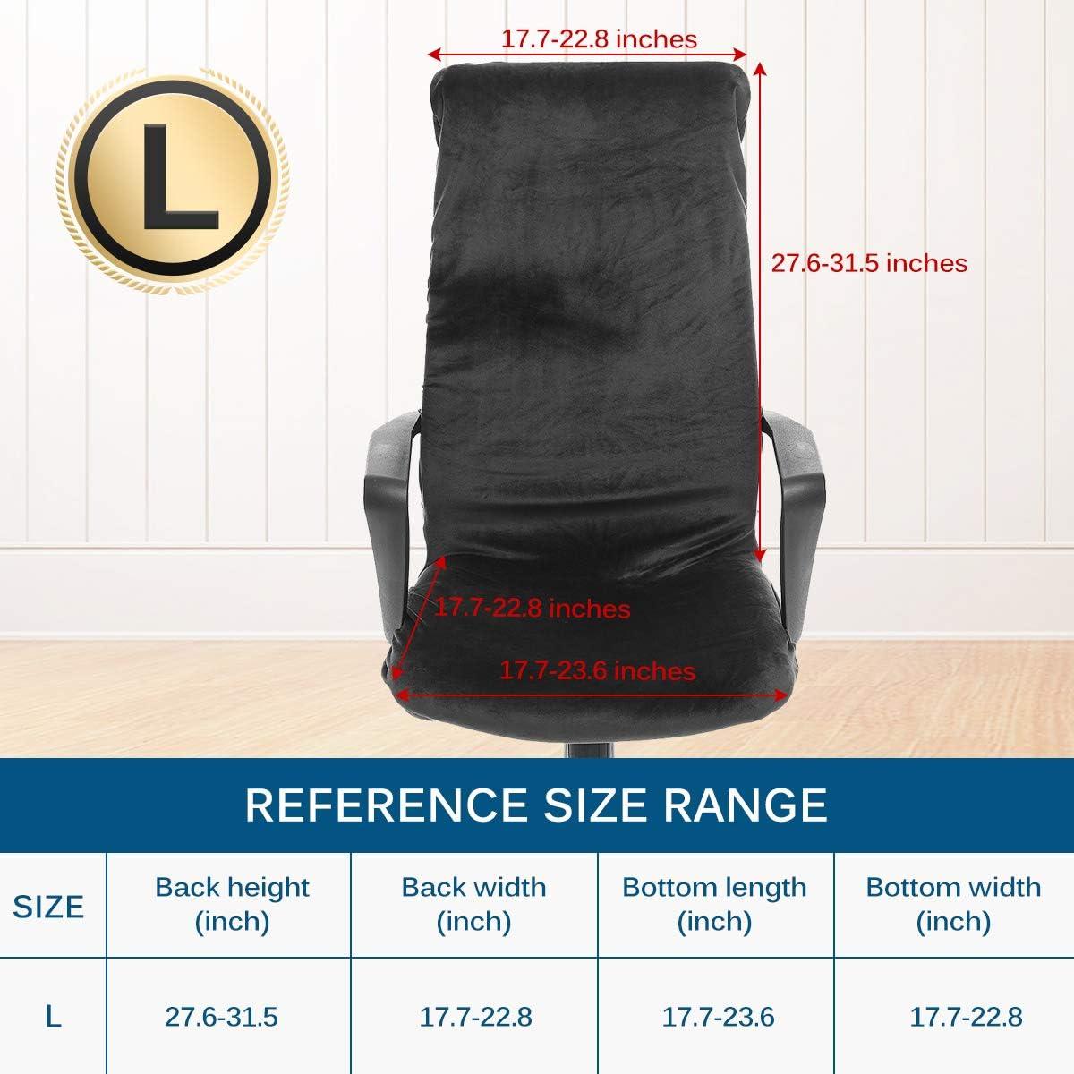 CAVEEN Housse de Chaise de Bureau D/émontable Elastique Simplissime Style Housse pour Fauteuil de Bureau Gris Fonc/é, L