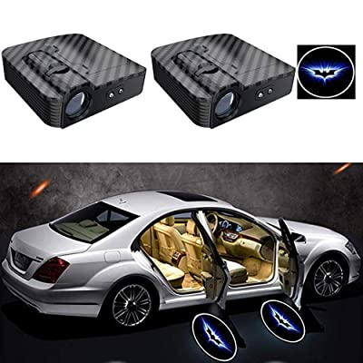 2PCS Carbon Fiber Texture Universal Wireless Universal Car Projection LED Projector Door Shadow Logo Light Welcome Lamps Courtesy Lights Kit Sensor (A): Automotive