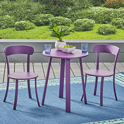 Great Deal Furniture Kelly Outdoor Bistro Set, Matte Purple