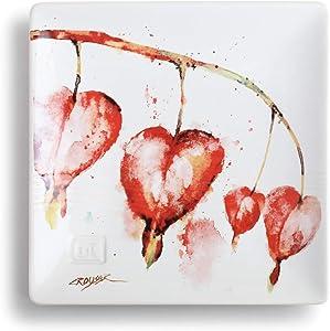 DEMDACO Dean Crouser Bleeding Heart Watercolor Red 7 x 7 Ceramic Stoneware Decorative Snack Plate