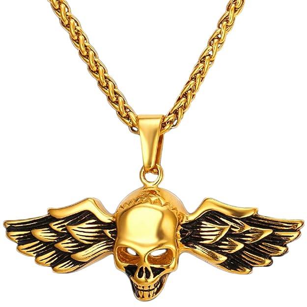 Collar de Calavera con Alas para Hombre Chapado en 18ct Oro con 50-55 cm Longitud Ajustablehttps://amzn.to/2Tnv5io