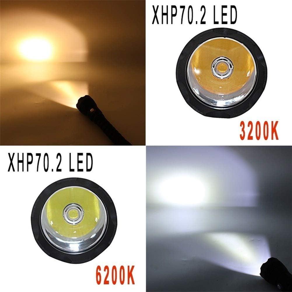 Flashlight LED Diving Flashlight Torch Yellow/White Light 4000 Lumen Underwater 100M Waterproof XHP70 Dive Lamp (Color : White-Light) Yellow-light