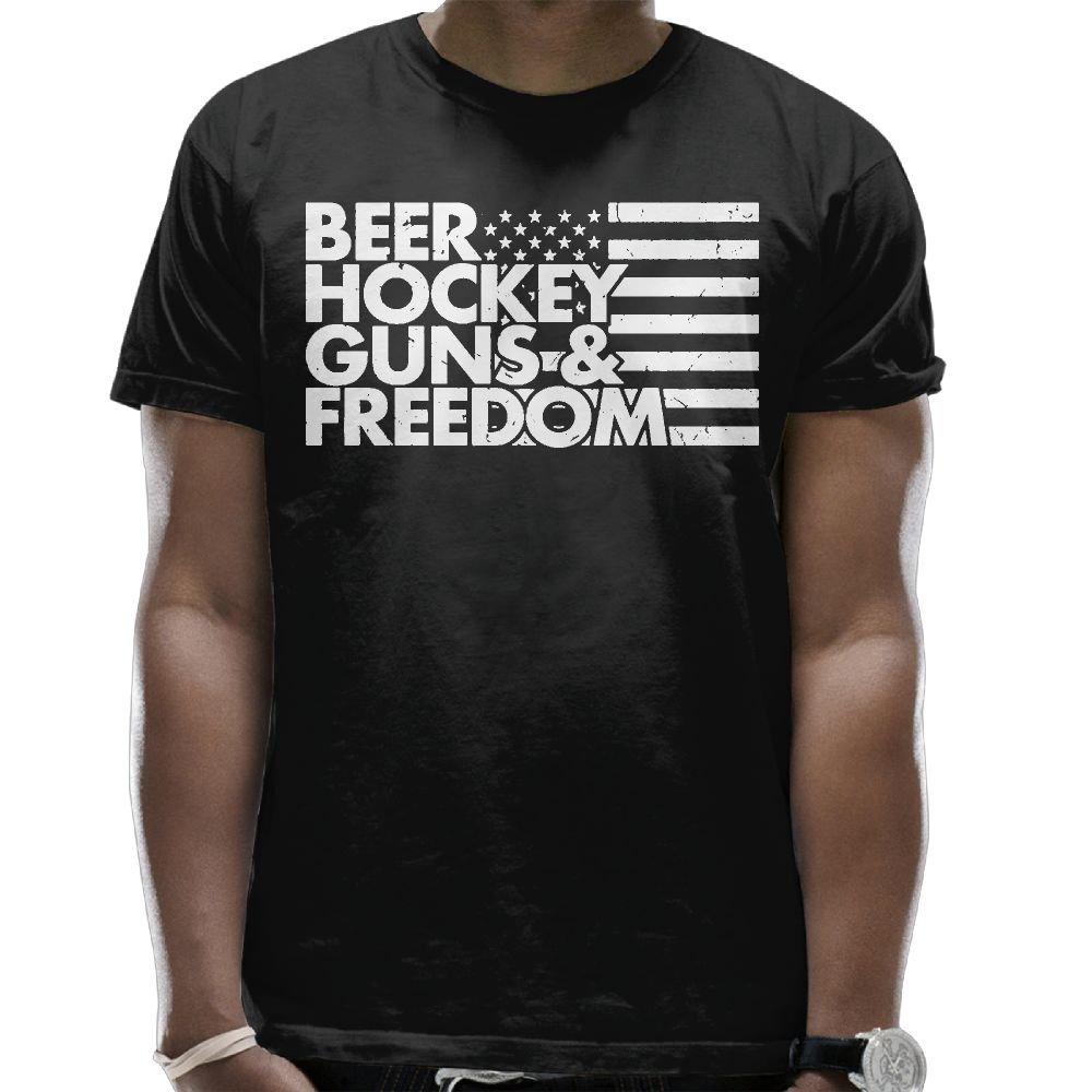 Amazon.com: T-shirt Beer Hockey Guns And Freedom Men\'s Round Neck ...