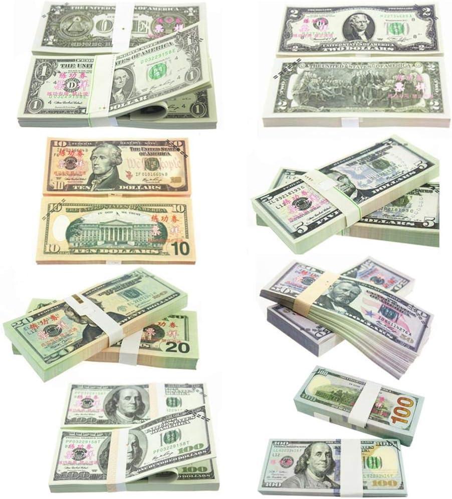 Jeu 100PCS F/ête danniversaire cuffslee Argent De Copie Am/éricain De Dollar De Prop De 1-100 $ pour des Films