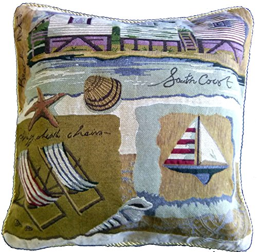Tache 1 Piece 18 X 18 Inch Summer By the Seaside Tapestry Throw Pillow Cushion Cover (Pillow Shell Needlepoint)