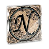 Vintage Letter N Initial Black Tan Acrylic Office Mini Desk Plaque Ornament Paperweight