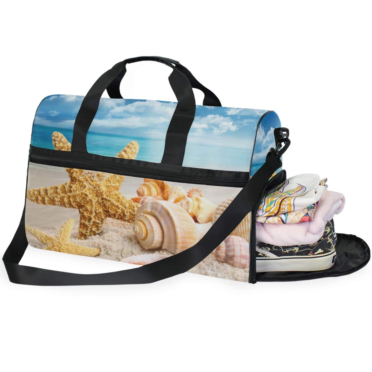 Vacation Travel Duffel Bag Starfish Seashells On Beach Waterproof Lightweight Luggage bag for Sports Gym