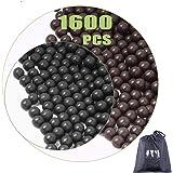 cyrico Slingshot Ammo Ball, 9-10mm Slingshot Clay Ammo Biodegradable 3/8 Inch, 1600 Pcs(Black+Grey)