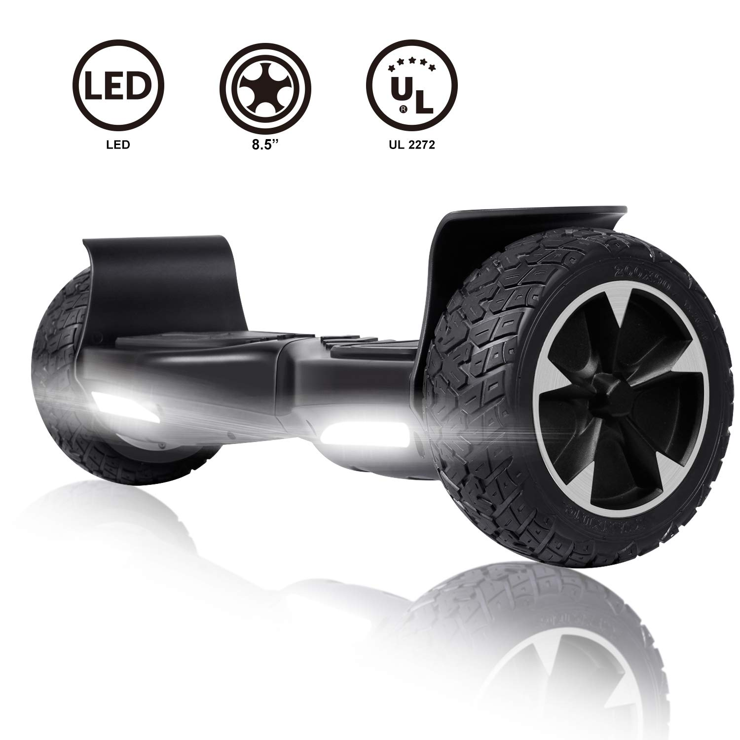 CBD Off Road Hoverboard,8.5 Inch All Terrain Hoverboard for Kids, Two-Wheel Self Balancing Hoverboard for Adults-Black by CBD