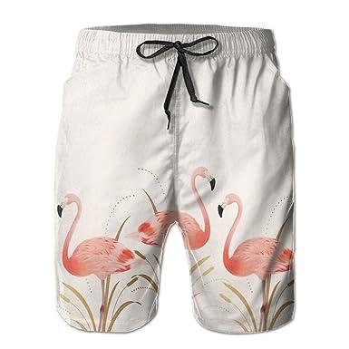 Men Swim Trunks Flamingo Bird Quick Dry Swimwear Pocket Water Beach Board Shorts