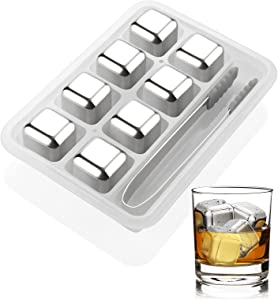 Stainless Steel Whiskey Stones, Cooling Whiskey Rocks with Ice Tongs, Reusable Stainless Steel Ice Cubes for Whiskey, Wine,Cocktails Bourbonor and Drinks (Silver 8 Pack)