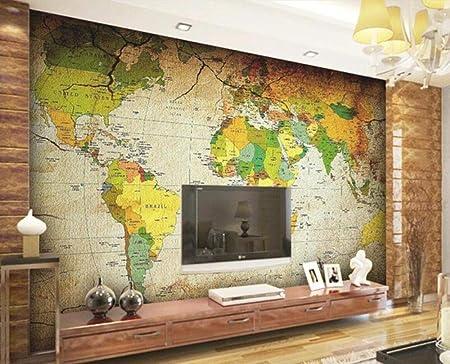 Papel pintado Personalizado 3D Mapa Del Mundo De Color Antiguo ...