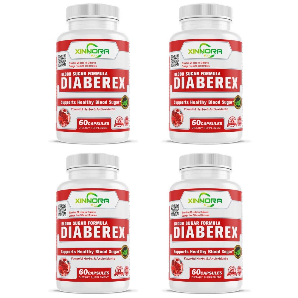 XINNORA Diaberex - Advance Blood Sugar Formula, Support Healthy Blood Sugar, Lower Blood Glucose Naturally, Supports Weight Loss & Healthy Metabolism - Powerful Herbs & Antioxidants - 60 Caps x 4 BTLs