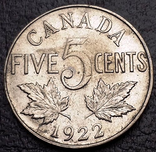 Unbranded 1922 Canada 5 Cents Nickel COINGREAT Condition
