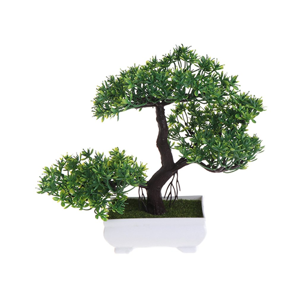 Artificial Flowers Fake Pot Plants Ornaments Wedding Party Decorative Green Tebatu Emulate Bonsai