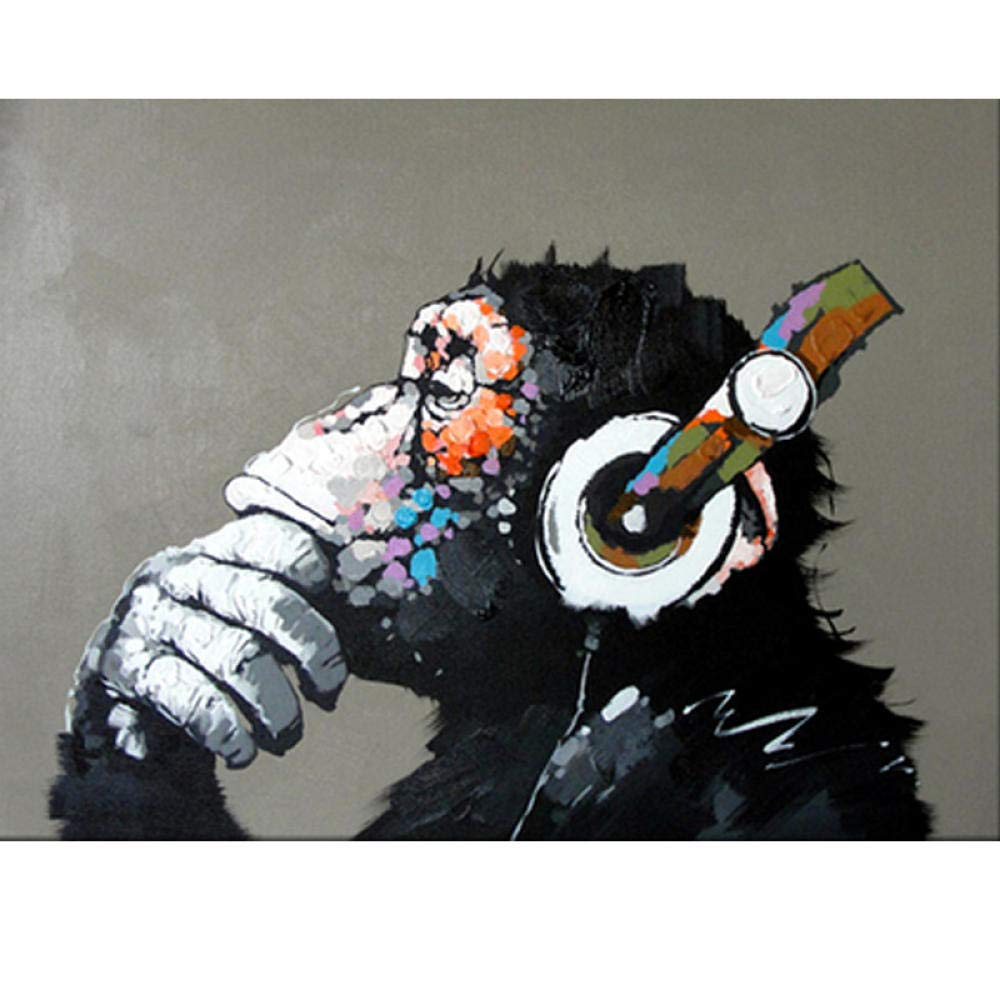 40cm x 50cm Senza Telaio HHUAPL DIY Digitale Pittura ad Olio Kit,Scimmia Musica per Adulti Bambini Principiante