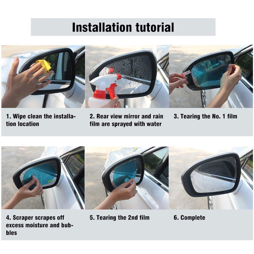 AUTOMB Rear View Mirror HD Nano Anti Glare Anti Fog Rainproof Waterproof Membrane for Automobile Rearview Mirror and Side Window Oval 3.9/×5.7 2Pcs Car Side View Mirror Anti-Glare Film